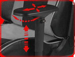 Подлокотники под углом 90° двигаются в 4 направлениях