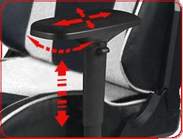 Подлокотники под углом 90° двигаются в 4 направлениях DXRacer OHKS06NW
